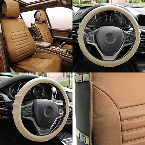 FH Group PU206102 Multifunctional Quilted Leather Seat Cushions (Tan) Front Set with Gift – Universal Fit for Cars Trucks & SUVs