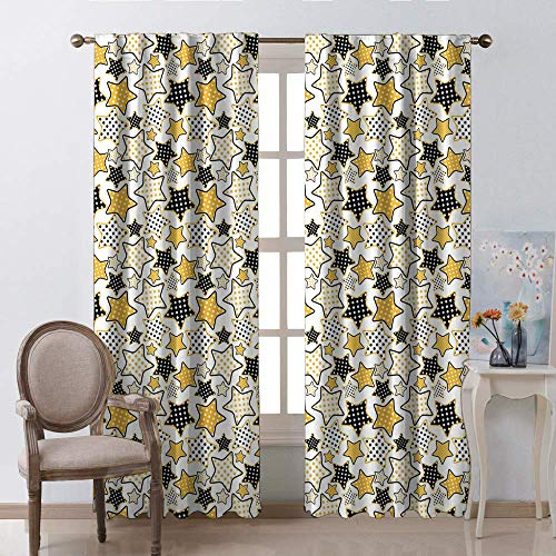 geïsoleerde gordijnen voor ramen, gele en zwarte sterren met retro-stijl polka stippen patroon oude mode leuke staaf zak venster gordijnen