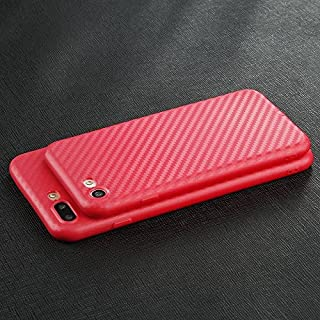 Apple iPhone Slim Thin Carbon Fiber TPU Soft Phone Case Cover Back Skin (Red iPhone SE 5s 5)
