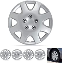"""BDK Wheel Guards – (4 Pack) Hubcaps for Car Accessories Wheel Covers Snap Clip-On Auto Tire Rim Replacement for 14 inch Wheels 14"""" Hub Caps (Classic Thick Spokes)"""