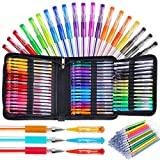 Bolígrafos de gel, bolígrafo de gel con purpurina para libros de colorear para adultos, paquete de 96 bolígrafos de gel de artista, 48 colores con un 50% más de tinta para niños, dibujar, tomar notas