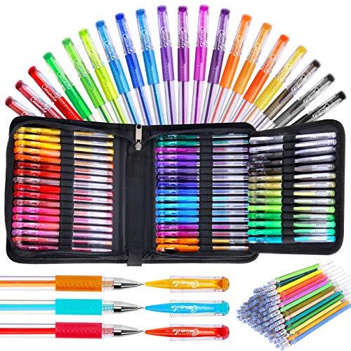 Gelstifte, Glitzer-Gelstift für Malbücher für Erwachsene,96er-Pack Künstler-Gelstifte Marker 48 farbig mit 50% mehr Tinte für Kinder Zeichnen Notizen Basteln Sammelalbum Bullet Journaling Kritzeln