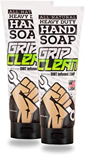 Grip Clean   Heavy Duty Hand Cleaner - Dirt Infused & All Natural Industrial Strength Soap (8oz) x2