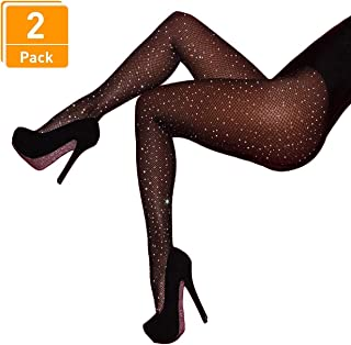Women's 2 Pair /3 Pair Sparkling Fishnet Stockings Rhinestone High Waist Tights Crystal Mesh Hollow Out Pantyhose