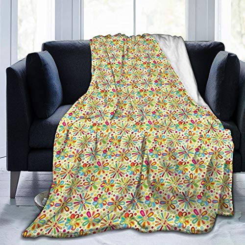 Flannel Blanket Lightweight Super Soft ,Cartoon Style Colorful Dots And Petal Funny Characters With Glasses Abstract Pattern,Blanket With Soft Anti-pilling Flannel For Adults & Kids 3D Print 60'x50'