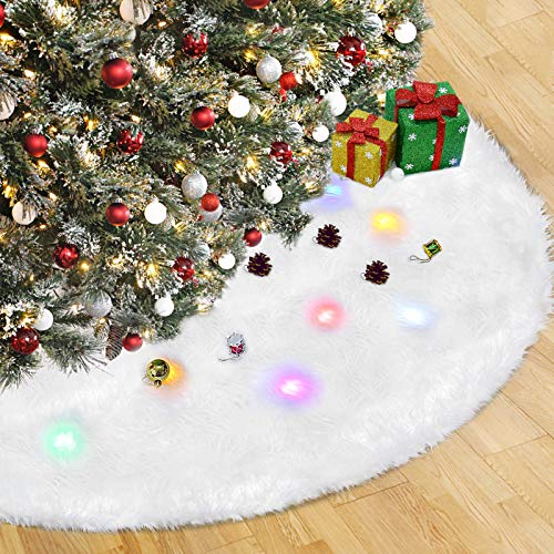 Vsadey Christmas Tree Skirt 48 Inches Large Size Christmas Tree Skirts Round Smooth Plush Tree Skirt Xmas Festival Party Evening Decoration Luxury Faux Fur Tree Skirt