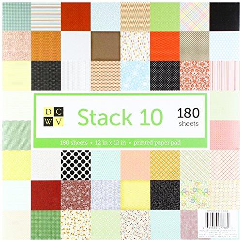 DCWV 12 x 12 Inch Printed Paper 180 Sheets Kit de Scrapbooking, Papel, Multicolor, 30.48 x 30.48 cm