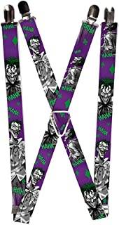 Buckle-Down Suspenders - Joker Laughing Poses Haha Purple/green/black/wh