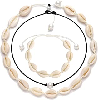 XOCARTIGE Puka Shell Choker Necklace for Women Sea Shell Necklace Bracelet Set Pearl Choker Summer Beach Jewelry