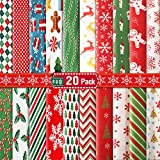 20 Pieces 10 x 10 Inch (25 x 25 cm) Christmas Fabric Bundles Sewing Square Christmas Tree Patchwork Precut Snowflake Printed Fabric Scraps for DIY Sewing Quilting Christmas Dress Apron Crafts