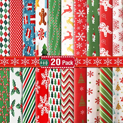 20 Pieces 10 x 10 Inch (25 x 25 cm) Christmas Cotton Fabric Bundles Sewing Square Christmas Tree Patchwork Precut Snowflake Printed Fabric Scraps for DIY Sewing Quilting Christmas Dress Apron Crafts