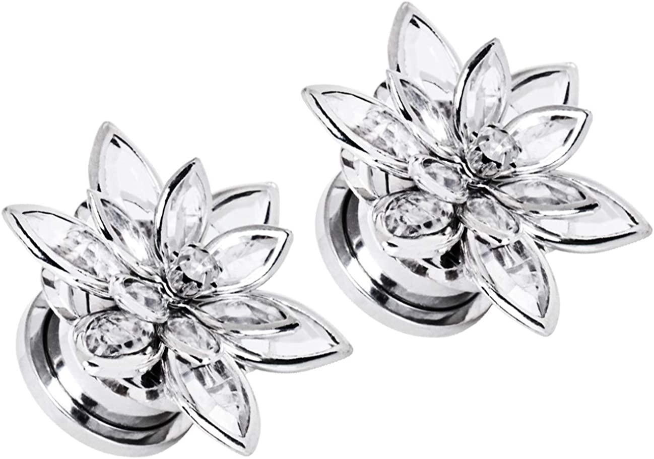 Pierced Owl CZ Crystal Flower Multi-Layered Screw Fit Plugs, Sold as a Pair