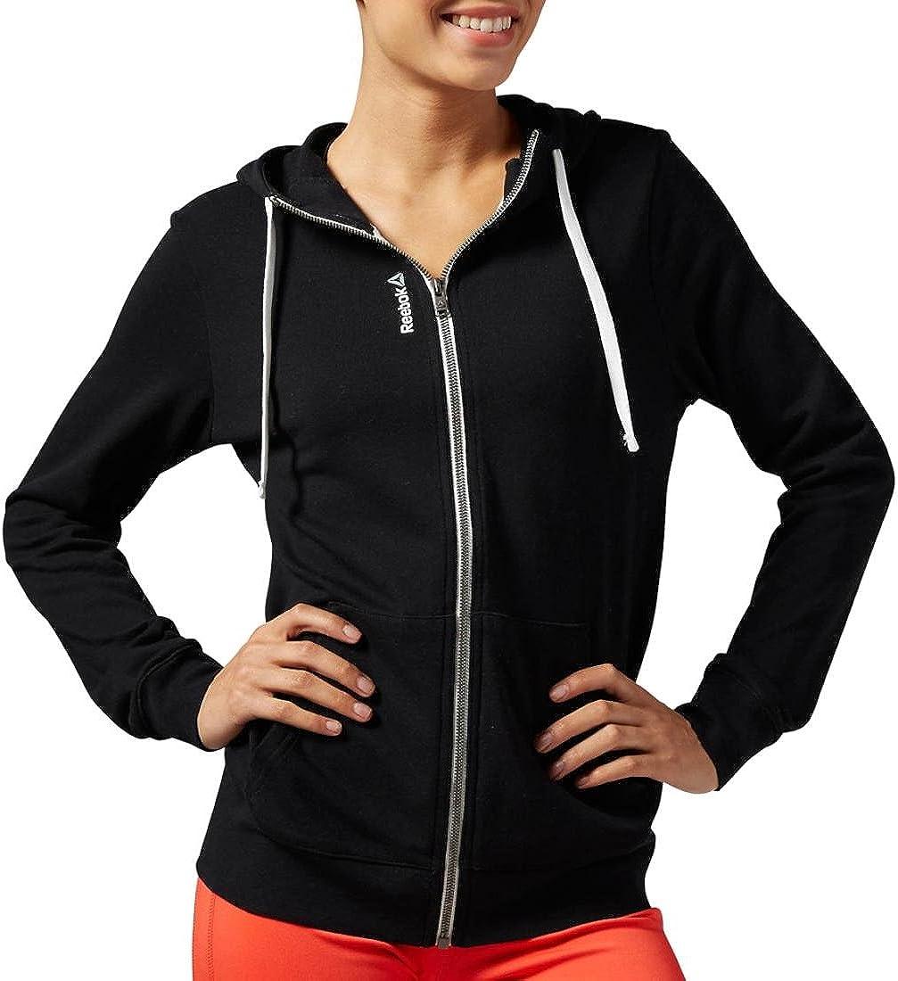 Reebok Womens Linear Full Zip Hoodie Hoody Hooded Top Long Sleeve Elasticated
