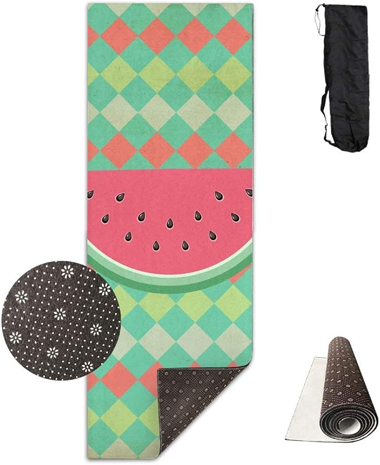 Yoga Mat Non Slip Watermelon Printed 24 X 71 Inches Premium for Fitness Exercise Pilates with Carrying Strap