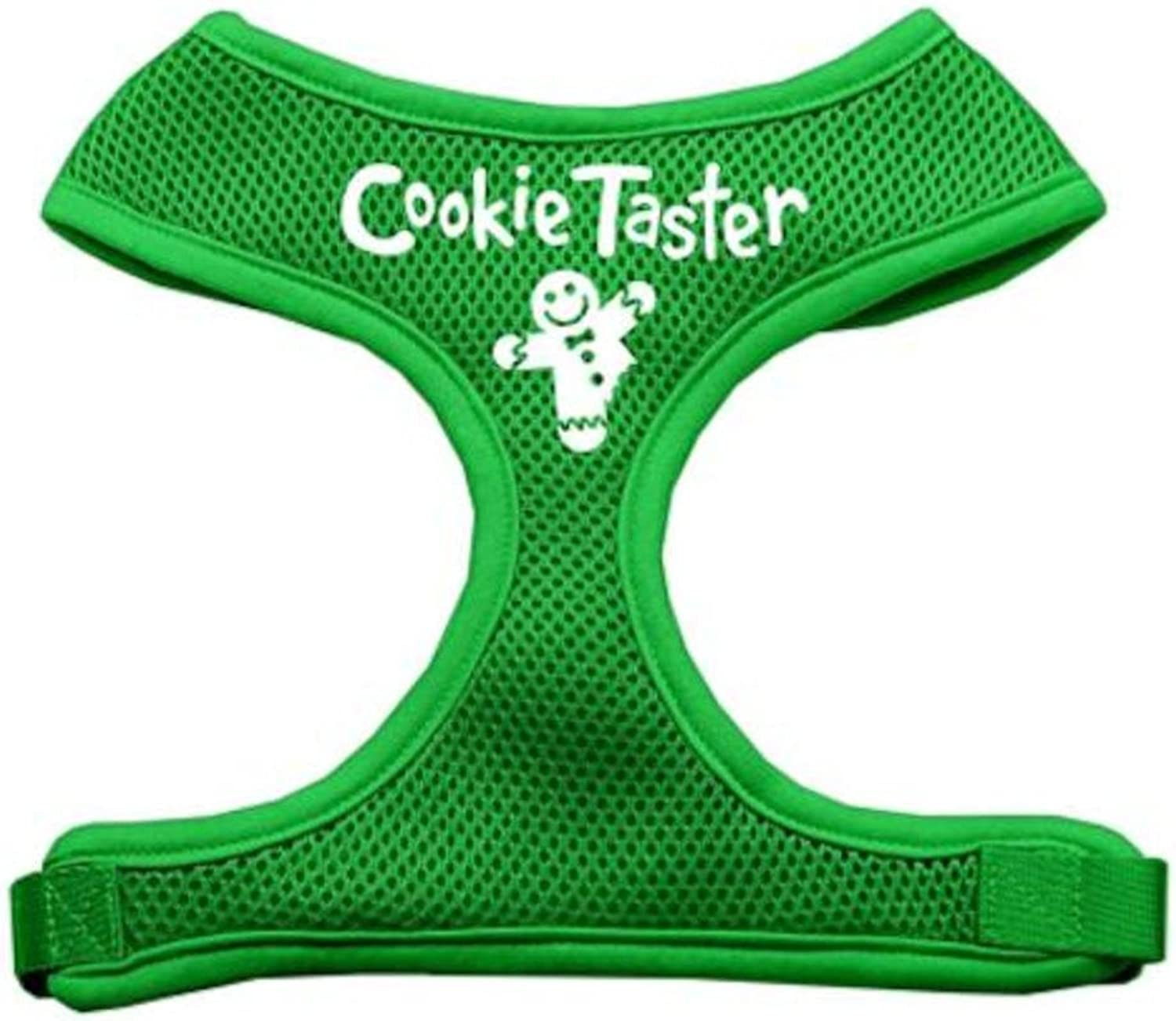 Mirage Pet Products Cookie Taster Screen Print Soft Mesh Dog Harnesses, Medium, Emerald Green