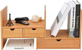 Homode Desk Organizer with Drawers, Adjustable Bamboo Wood Desktop Bookshelf Office Supplies Display Shelves (Natural)