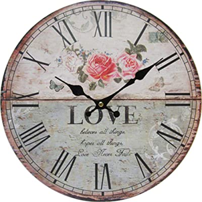 Imoerjia Retro Decorative Wall Clock Bedroom Living Room Silent Round Watches,30Cm