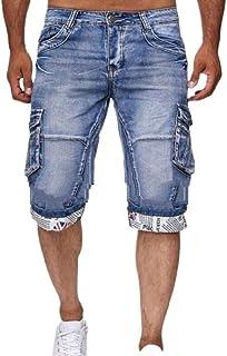 Jotebriyo Mens Hole Stretchy Straight Leg Stylish Moto Biker Denim Shorts