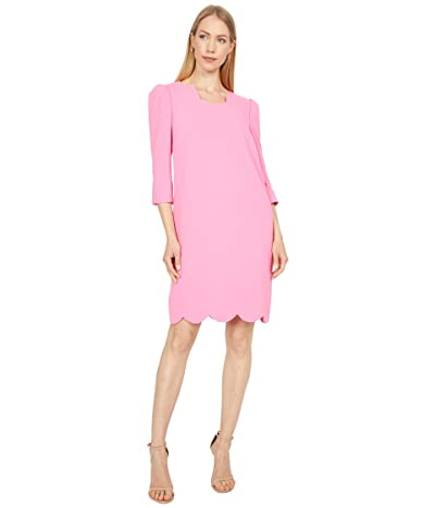 Tahari by ASL Stretch Crepe Sheath with 3/4 Sleeves and Scallop Edge Detail Women