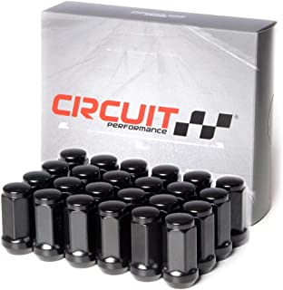 Circuit Performance 14x2.0 Black Closed End Bulge Acorn Lug Nuts Cone Seat Forged Steel (24 Pieces)