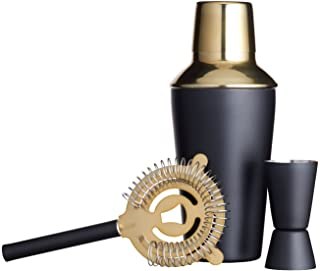 BarCraft Luxury Stainless Steel Cocktail Making Kit - Brass Finish (3-Piece Gift Set)