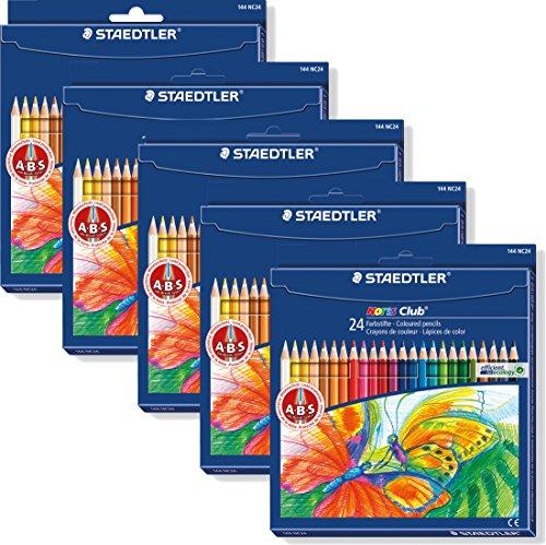 5 Packungen Staedtler Noris Club 144 NC24 Buntstifte, erhöhte Bruchfestigkeit, sechskant, Set mit 24 brillanten Farben, kindgerecht nach DIN EN71, umweltfreundliches PEFC-Holz