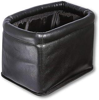 KINGBERWI Leather Car Trash Can Luxury Car Garbage Bag, Black