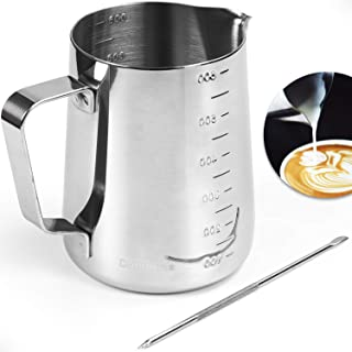 Domulina - Milk frothing pitcher (600ml) - Latte art pen - Engraved measurement on both sides - 304 Stainless steel
