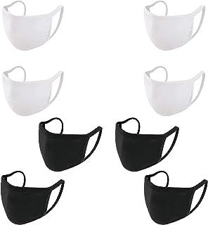 HONYAO Reusable Face M Dust M, Black Cotton Face M Washable Cloth M (4 pcs Black & 4 pcs White)