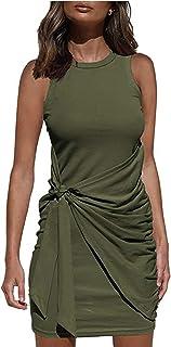 Vestido Casual Verano para Mujer Vestido Camiseta Sin Mangas Casuales Suelto Vestido Color Sólido hasta Rodillas para Diar...