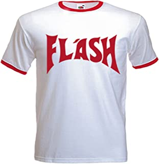 Men's Flash Gorden (Freddie Mercury) Inspired T Shirt, White with Red Trim