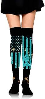 Nice-Guy, Pcos Cancer Awareness USA Flag Girls Cosplay sobre la rodilla Muslo Calcetines altos Medias