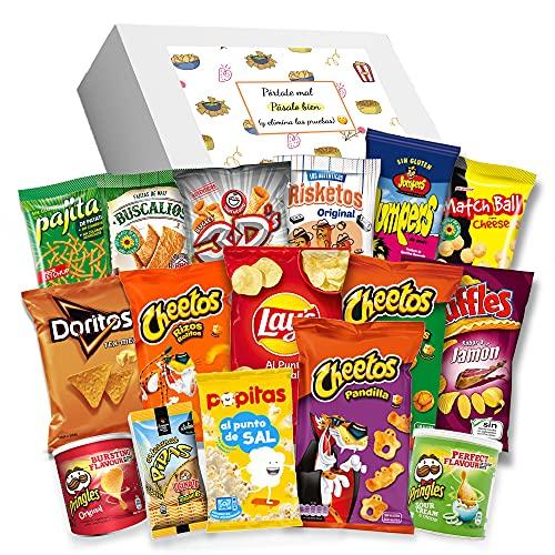 Caja regalo de Snack y aperitivos - Pringels, Cheetos, Ruffles, Lays, 3D, Jumpers, Pajitas, Doritos, Palomitas, Pan con pipas, Risketos y más. Regalo original I Edición España