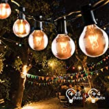Lichterkette Außen, FOCHEA Lichterkette Glühbirnen G40 9.5m 25er Globe Birnen Lichterkette Garten für Weihnachten Hochzeit Party Aussen...