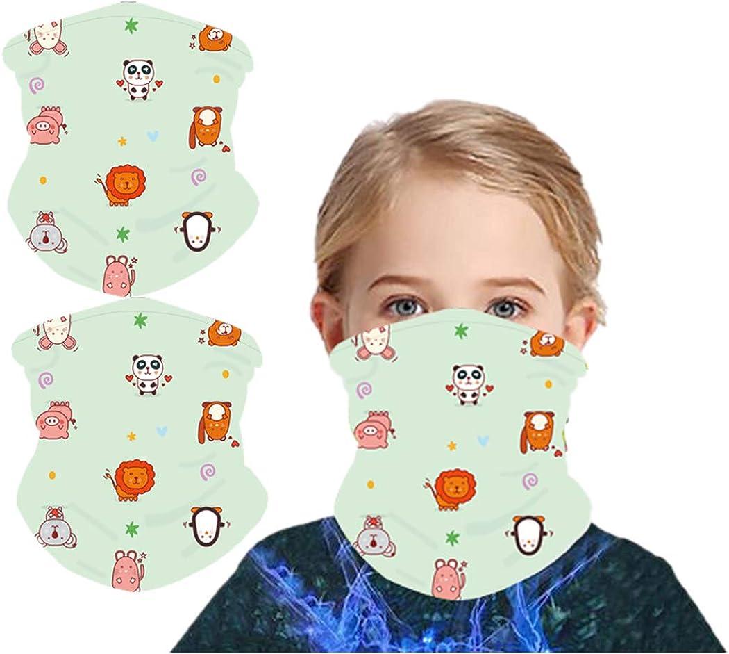 2 Pack Kids Full-Coverage Tube Face Mask Bandanas UV Protection Neck Gaiter Headband for 3-10 Years Olds Boy Girl