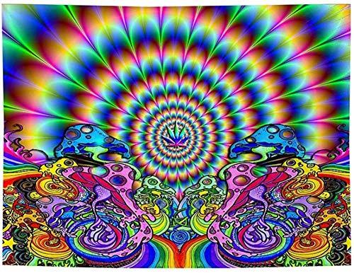 Mandala Wandtuch Sonne und Mond Psychedelische Wandteppich Schwarz und Weiß Wandbehang Wandteppich Mandala Tuch Home Decor Tapestry (Schillernd, 130cmx150cm)