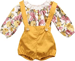 GRNSHTS Baby Girls Floral Suspenders Pant Set Long Sleeve Romper + Short Overalls