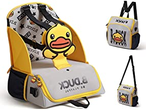 Travel Booster Seat for Family and Toddler Dining,COCOCKA Multi-Function Portable Baby Diaper Bag,5-Point Harness Travel Backpack -Fits Most Standard Size Chairs - Yellow