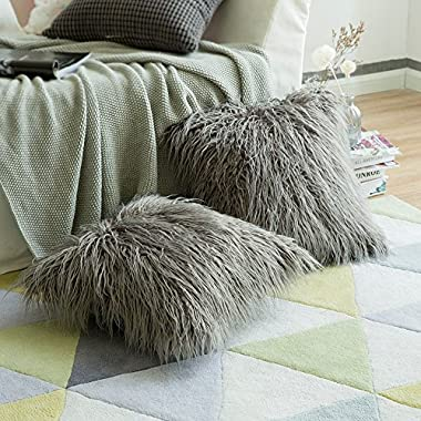 MIULEE Pack of 2 Decorative New Luxury Series Style Grey Faux Fur Throw Pillow Case Cushion Cover for Sofa Bedroom Car 18 x 18 Inch 45 x 45 cm