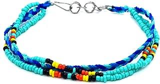 Mia Jewel Shop Handmade Native American Style Tribal Seed Bead Braided Macramé Multi Strand Bracelet