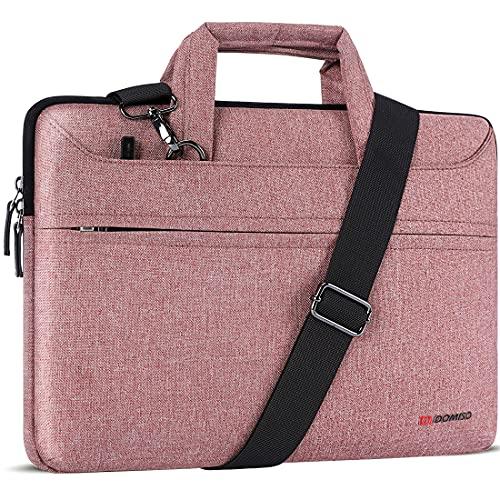 """DOMISO 13,3 Pollici Borsa a Tracolla per Laptop Impermeabile Cartella Borsa Porta PC con Manico per 13"""" MacBook Air A1466/MacBook PRO Retina A1502 A1425/13.5"""" Surface Book/13.3"""" ThinkPad L380,Rosa"""