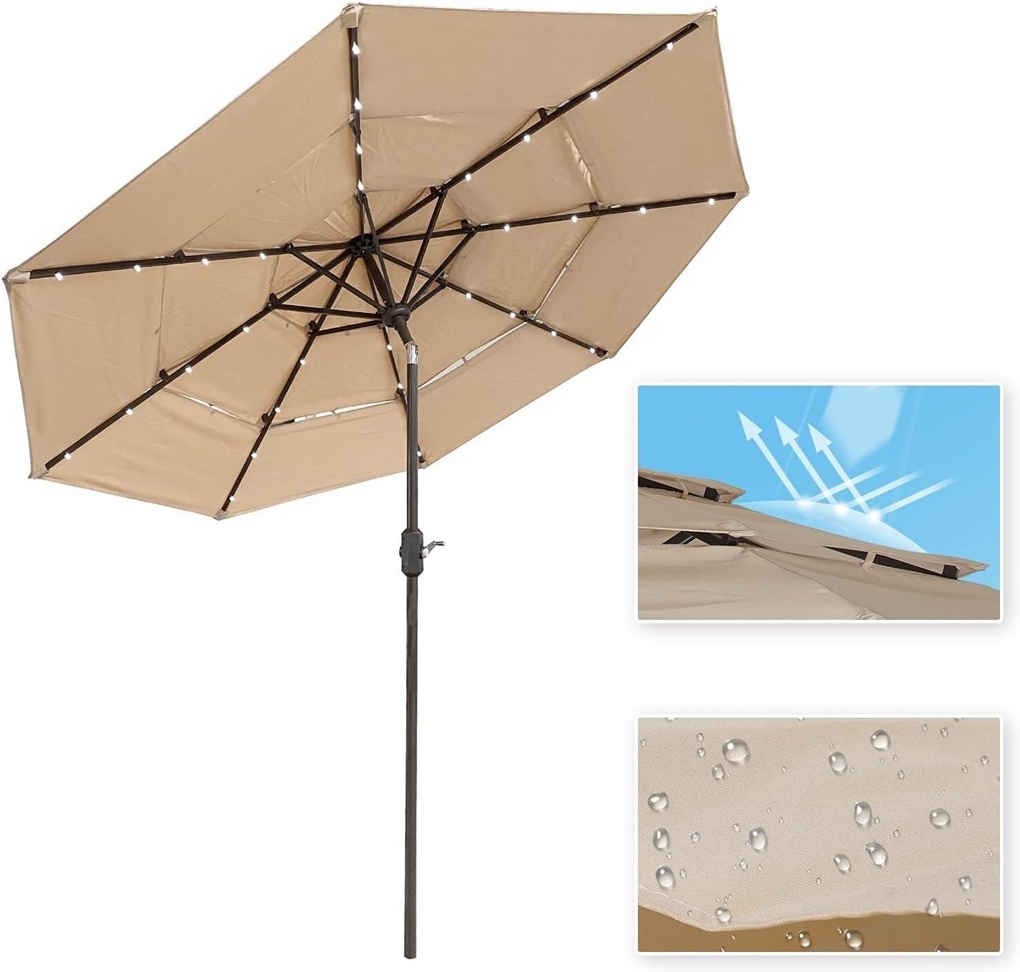 LASBAK Patio Long Beach Mall Umbrella 9 Ft 3 Tier Solar Max 57% OFF 32 Market with