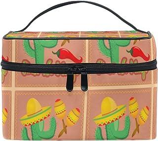 Cosmetic Bag Cactus In Sombrero HatTravel Makeup Brush Organizer Bag Multifunctional Travel Toiletry Bag
