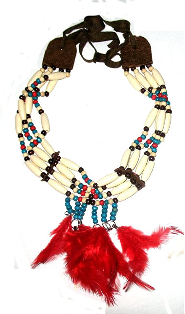 Roger Enterprises 4 Row Choker Collar Necklace Native American Bone Style with Real Feathers