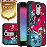 LG K7 Case, LG Phoenix 2 Phone Case, LG Treasure LTE L52VL Case, LG Tribute 5 Case Hard & Soft Sturdy Durable Hybrid Dual Layer Protective Cover + [ Tempered Glass Screen Protector ] (Red Flower)
