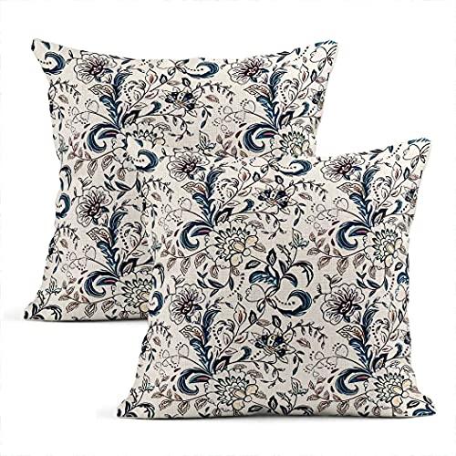 Federa per cuscino in cotone con motivo floreale, in stile provenzale, blu, beige, quadrato, per soggiorno, camera da letto, divano, sedia, 45 x 45 cm
