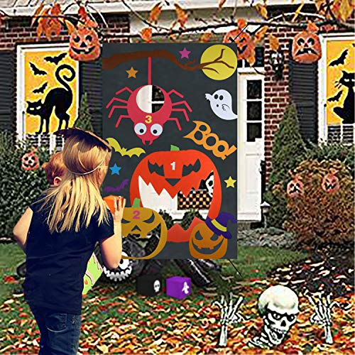 Qpout Halloween Bean Bag Toss Games, Pumpkin Spider Bat Bean Bag Toss Games with 3 Bean Bags Halloween Indoor Outdoor Throwing Games for Families with Kids Halloween Party Supplies Carnival Decoration