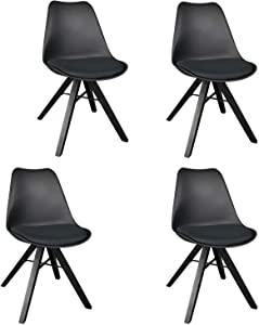IKON MOTORSPORTS Upholstered Dining Side Chairs Mid Century Modern Living Room Home Office Leisure Reception Chair with Stable Wood Legs, Set of 4 (Black)