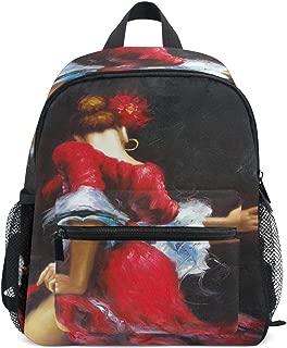 Mini Backpack Spanish Dancer Flamenco Brunette Beauty Red Dress Small Bag Daypack Lightweight