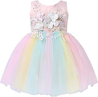 Aiihoo Baby Girls Rainbow Dress Formal Flower Toddler Baptism Christening Tutu Dress for Birthday Party